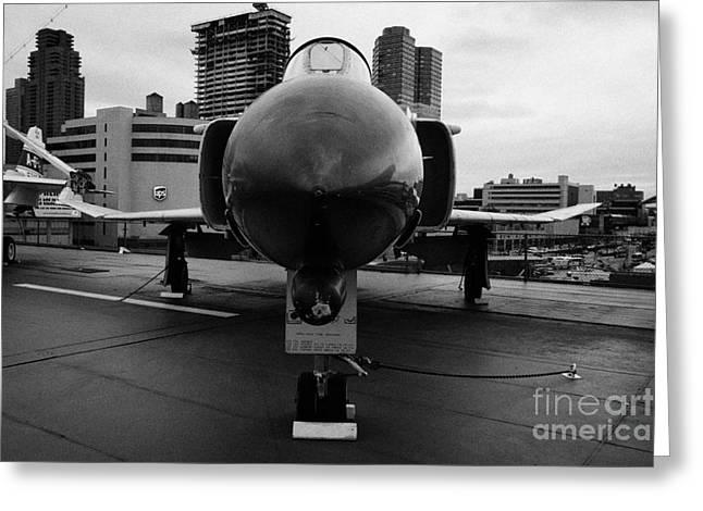 Mcdonnell F4n Phantom On Display On The Flight Deck Of Uss Intrepid New York F4 Greeting Card by Joe Fox