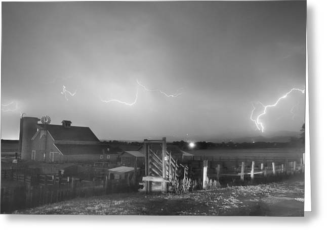 Mcintosh Farm Lightning Thunderstorm View Bw Greeting Card