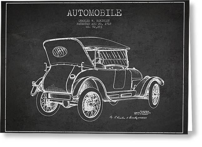 Mckinley Automobile Patent Drawing From 1918 - Dark Greeting Card by Aged Pixel