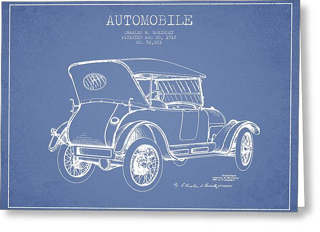 Mckinley Automobile Patent Drawing From 1918 - Light Blue Greeting Card by Aged Pixel