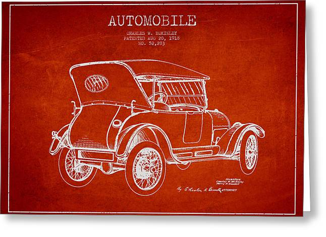 Mckinley Automobile Patent Drawing From 1918 - Red Greeting Card by Aged Pixel