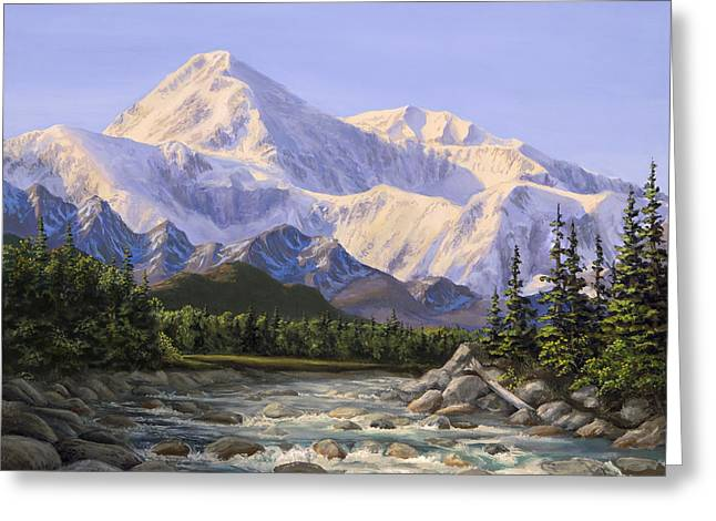 Majestic Denali Mountain Landscape - Alaska Painting - Mountains And River - Wilderness Decor Greeting Card