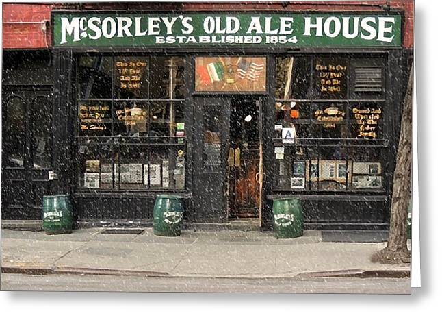 Mcsorley's Old Ale House During A Snow Storm Greeting Card