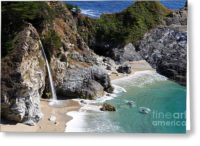 Mcway Falls 1 - Big Sur By Diana Sainz Greeting Card by Diana Sainz
