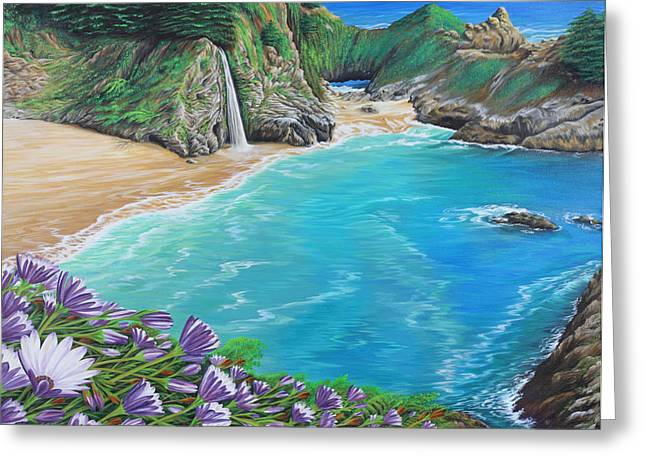 Greeting Card featuring the painting Mcway Falls by Jane Girardot