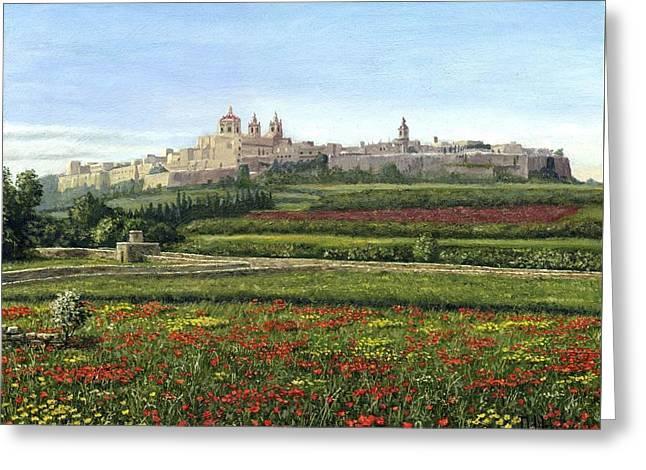 Mdina Poppies Malta Greeting Card
