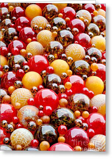 Mdina Wall Glass Spheres Blown Artwork In Valetta Malta Greeting Card by Andy Smy
