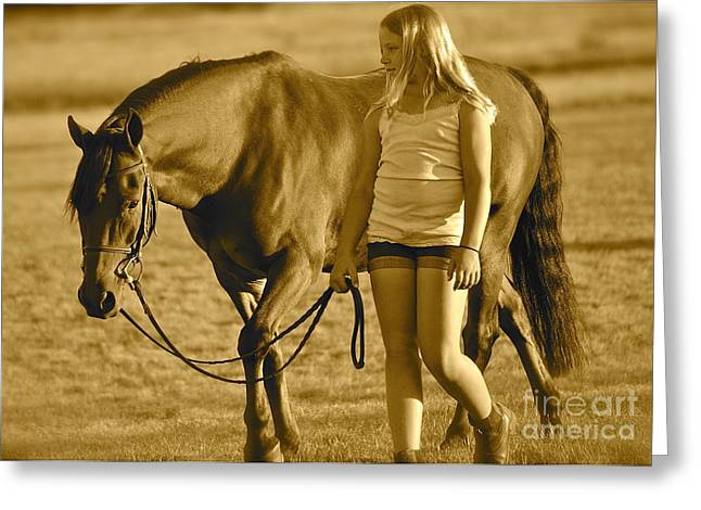 Greeting Card featuring the photograph Me And My Pony by Barbara Dudley