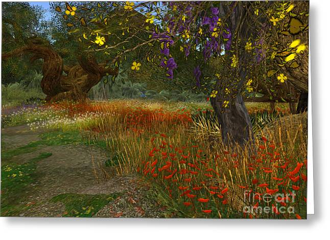 Meadow And Trees Greeting Card