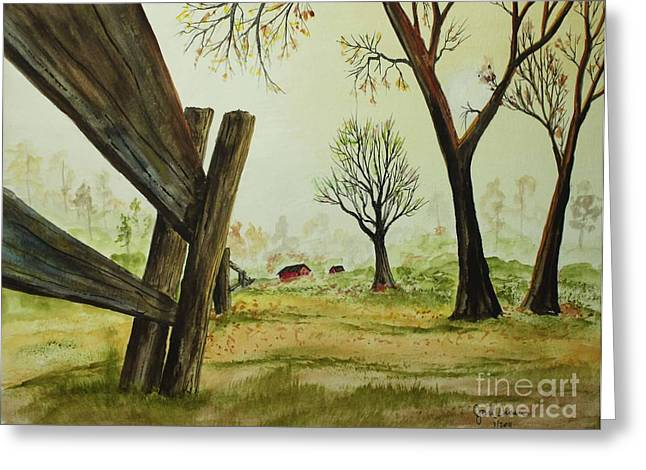 Meadow Fence Greeting Card by Jack G  Brauer