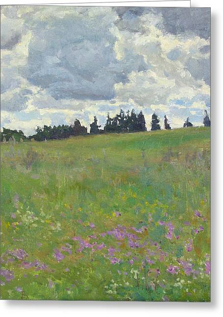 Meadow Is Blooming Greeting Card by Victoria Kharchenko