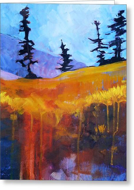 Meadow Mountain Greeting Card by Nancy Merkle