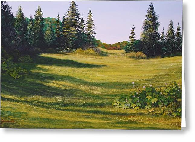 Meadow Walk Greeting Card by Alan Zawacki