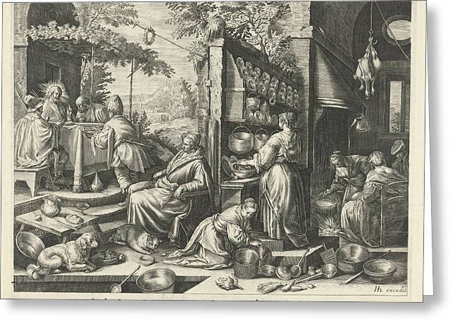 Meal At Emmaus, Dirk Van Hoogstraten, Raphal Sadeler Greeting Card