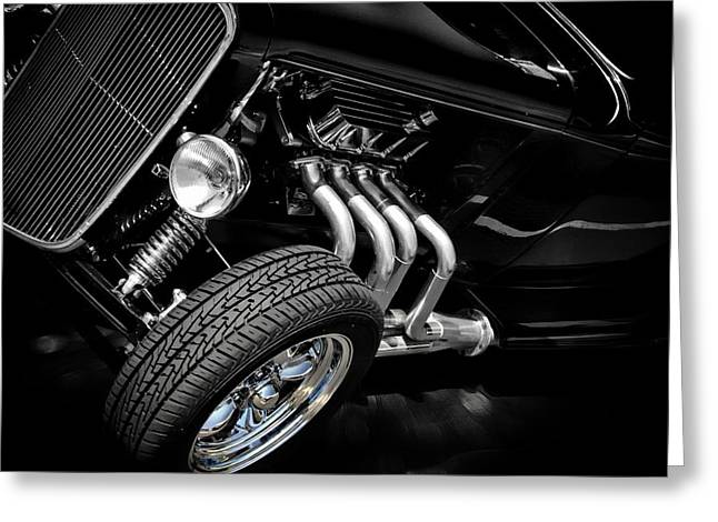 Black And White Greeting Card featuring the photograph Mean Machine Classic by Aaron Berg