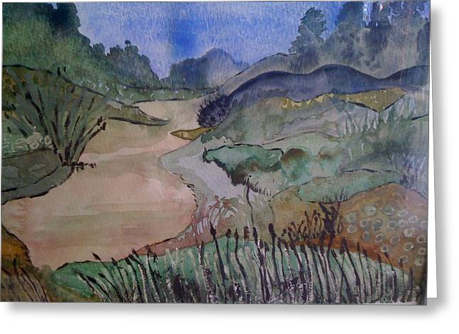 Greeting Card featuring the painting Meandering by Judi Goodwin