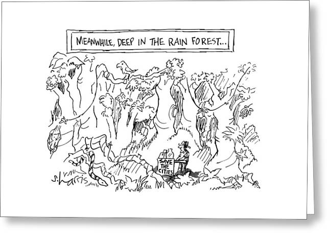 Meanwhile, Deep In The Rain Forest Greeting Card