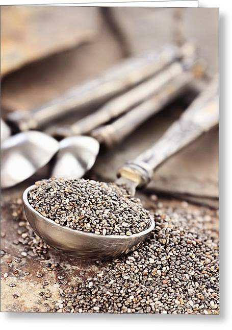 Measuring Spoon Of Chia Seeds Greeting Card by Stephanie Frey