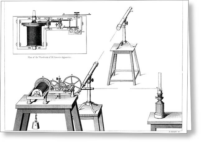 Measuring The Speed Of Light Greeting Card by Royal Astronomical Society/science Photo Library