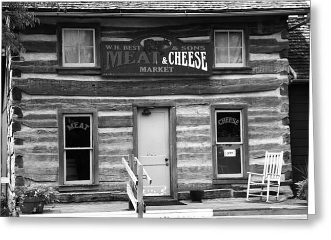 Meat And Cheese Market Black And White Greeting Card by Dan Sproul