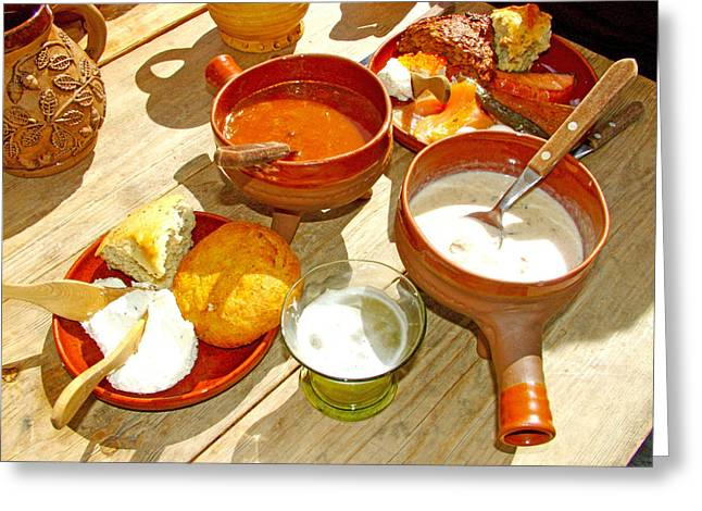 Meat And Mushroom Soups In Old Town Tallinn-estonia Greeting Card by Ruth Hager