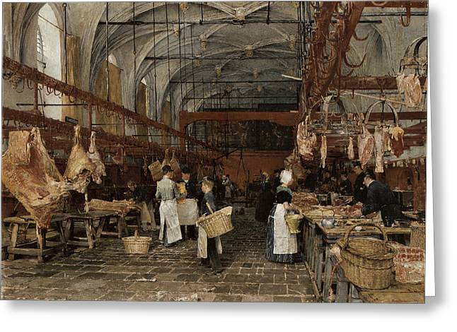 Meat Market In Middleburg Greeting Card by Hans Herrman