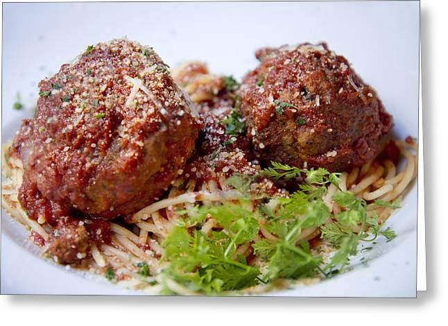 Meatballs And Spaghetti  Greeting Card by Alicia Morales