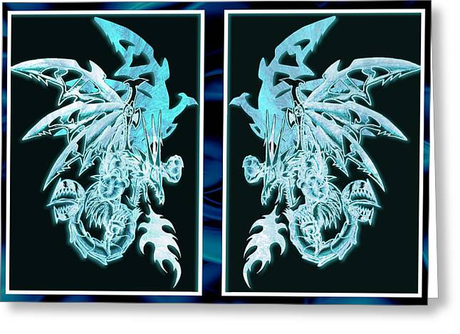 Mech Dragons Diamond Ice Crystals Greeting Card