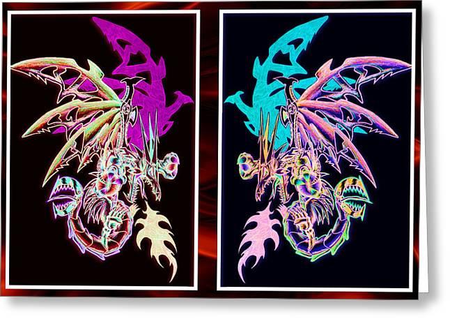 Mech Dragons Pastel Greeting Card