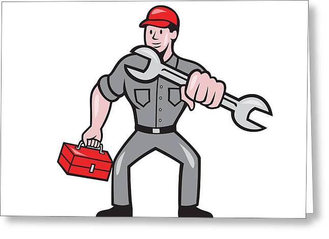 Mechanic Punching With Spanner Cartoon Greeting Card by Aloysius Patrimonio