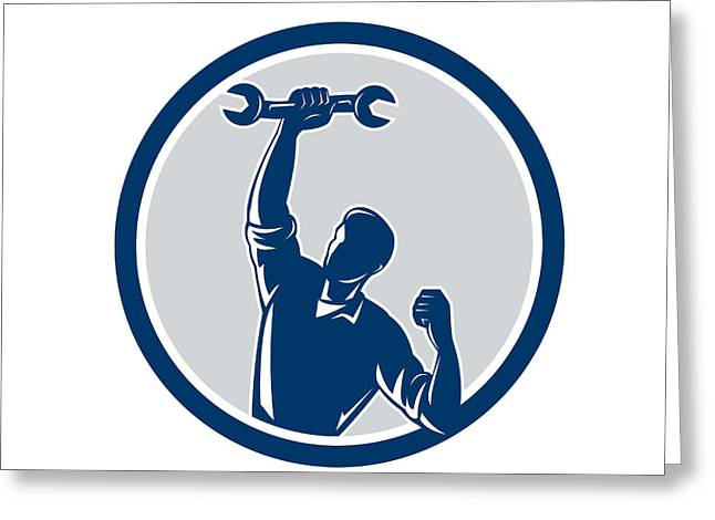 Mechanic Spanner Wrench Fist Pump Circle Greeting Card by Aloysius Patrimonio