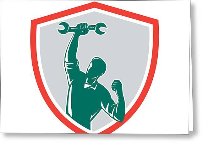 Mechanic Spanner Wrench Fist Pump Shield Greeting Card by Aloysius Patrimonio