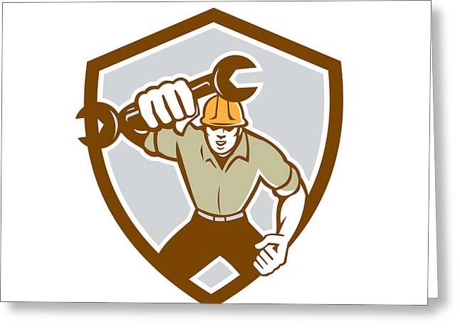Mechanic Spanner Wrench Running Shield Retro Greeting Card by Aloysius Patrimonio