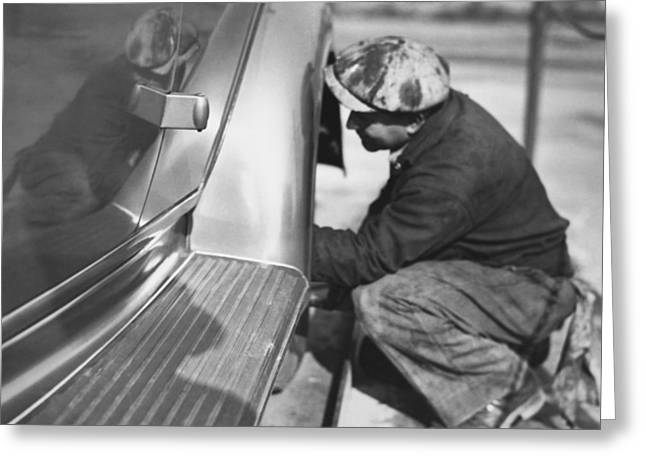 Mechanic Working On Car Greeting Card