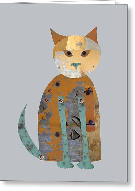 Mechanical Cat Greeting Card by Ann Powell