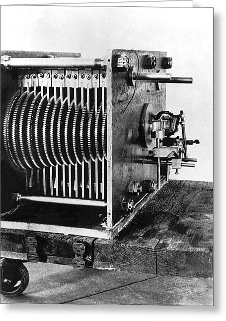 Mechanical Gear Number Sieve Greeting Card by Underwood Archives
