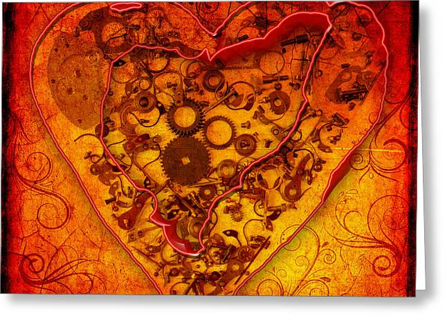 Mechanical - Heart Greeting Card by Fran Riley