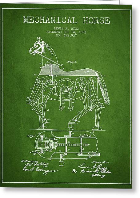Mechanical Horse Patent Drawing From 1893 - Green Greeting Card by Aged Pixel