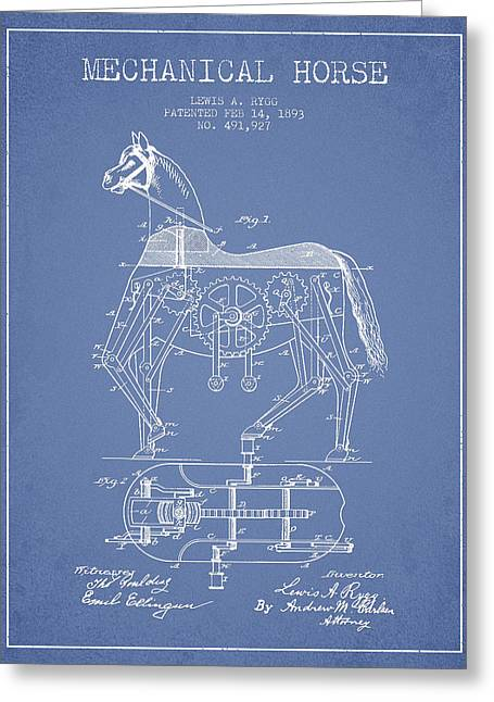 Mechanical Horse Patent Drawing From 1893 - Light Blue Greeting Card by Aged Pixel