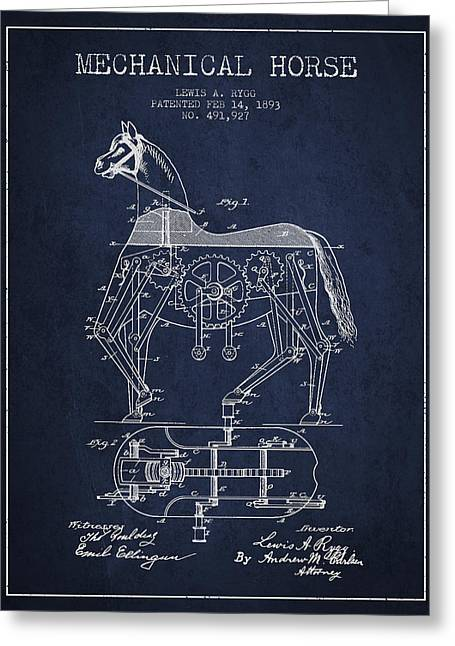 Mechanical Horse Patent Drawing From 1893 - Navy Blue Greeting Card by Aged Pixel