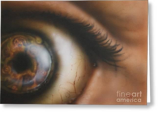 Mechanical Iris Greeting Card by Troy Wilfong