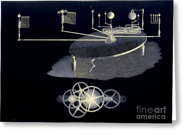 Mechanical Planetarium Circa 1807 Greeting Card by Unknown
