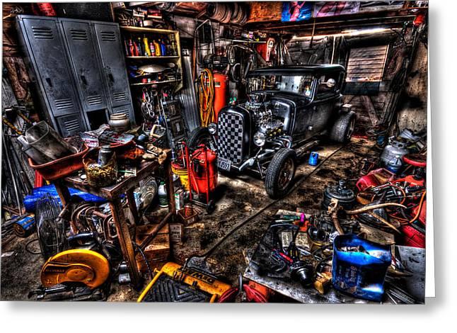 Mechanics Garage Greeting Card