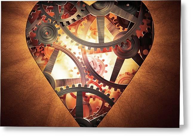 Mechanics Of The Heart Greeting Card by Andrzej Wojcicki