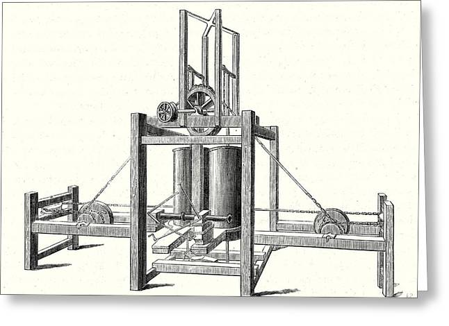 Mechanism Of Miller Taylor And Symingtons Steamboats Engine Greeting Card by English School