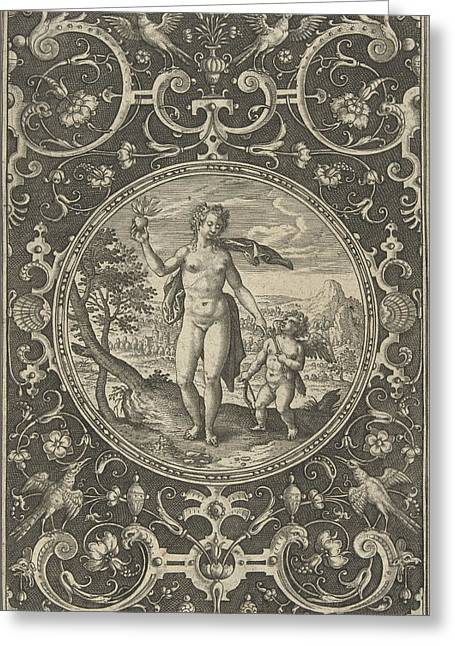 Medallion Which Venus With The Paris Apple In Her Hand Greeting Card by Adriaen Collaert