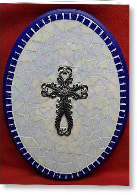 Medallion With Cross Greeting Card by Fabiola Rodriguez