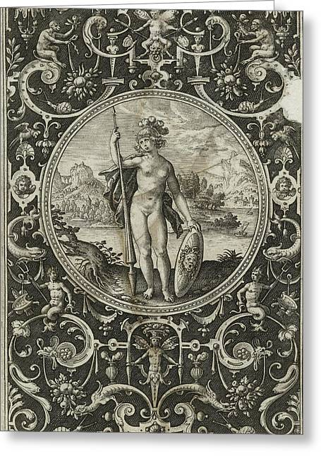 Medallion With Minerva With Spear And Shield With Medusa Greeting Card by Litz Collection