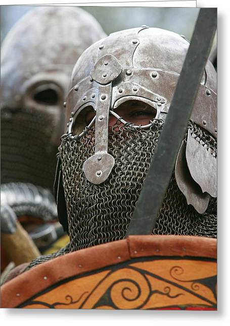 Mediaeval Soldier Re-enactment Greeting Card by Science Photo Library