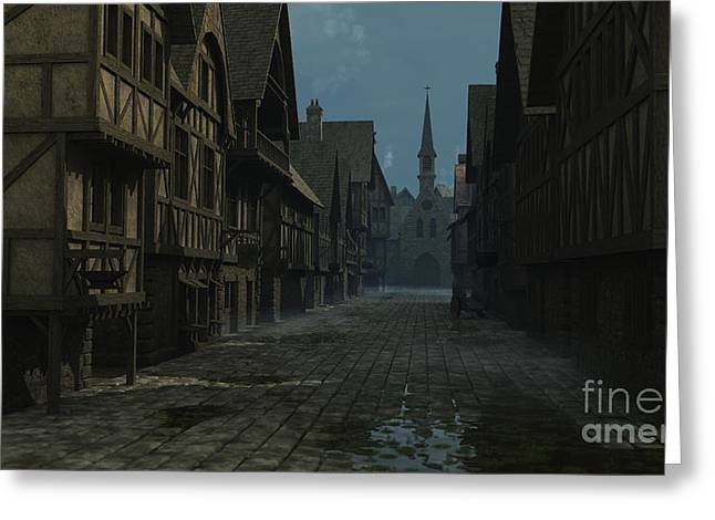 Mediaeval Street At Evening Greeting Card